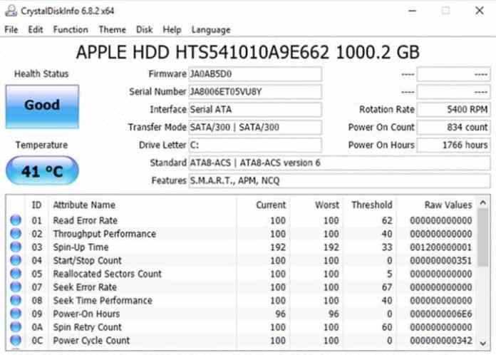 CrystalDiskInfo Data Drive Diagnostic