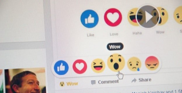 Facebook reactions other that like button