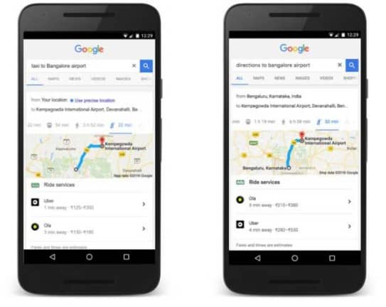 Ola or Uber to Airport via Google Search