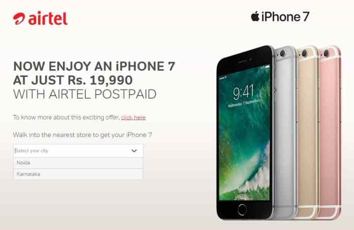 iPhone 7 from Rs. 19,990 onwards; offer by Airtel (T&C Apply)