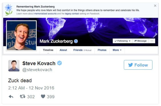 Facebook accidentally declares Mark Zuckerberg dead including million others