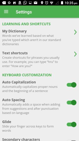 Xploree Smart Keyboard - Settings