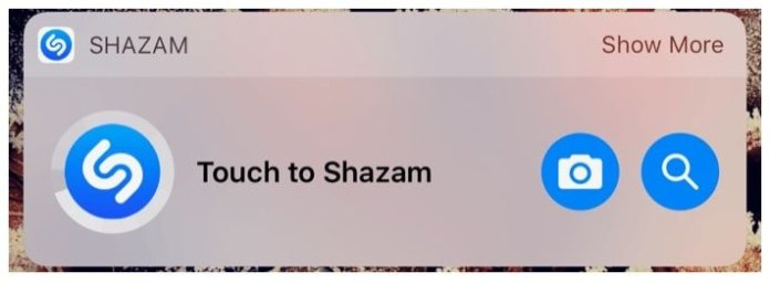 Shazam widget for iOS 10
