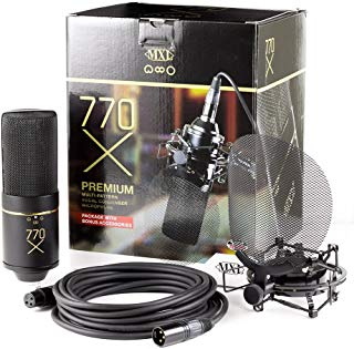 MXL 770X Multi-Pattern Condenser Microphone Package, Black & Gold (