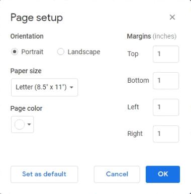 How to Set Google Docs Landscape or Portrait orientation 3