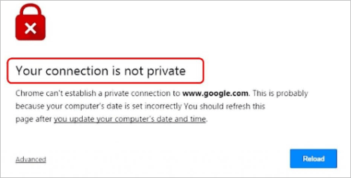 "How to fix ""your connection is not private"" error 1000-1200"