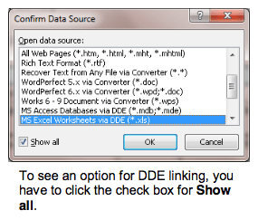 Microsoft Word Mail Merge Confirm Data Source dialog box 2