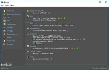 Spesifikasi Laptop Techie Menurut Speccy