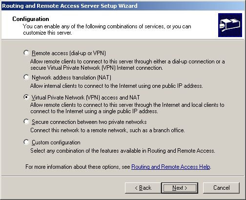Routing and Remote Access Server Wizard