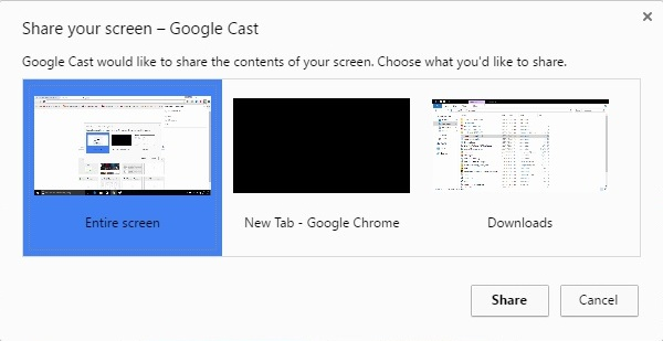 Google Cast entire screen options