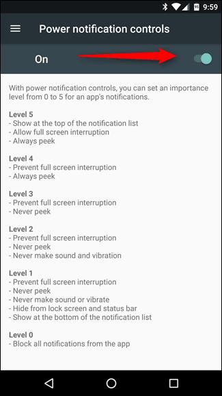 Enabling Power Notification Controls