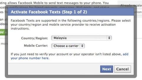 Posting to fb via sms