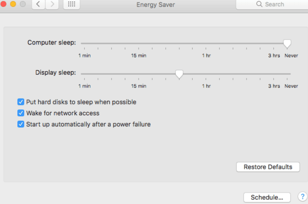 Energy Saver Preferences Pane