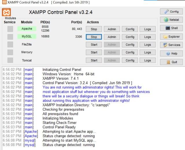 Step 4. Open XAMPP and Start Apache and MySQL