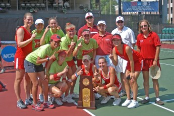 2004: Stanford women's tennis action at the Taube Family Tennis Stadium in Stanford, CA. Photo credit mandatory: David Gonzales2004: Stanford women's tennis action at the NCAA Women's Tennis Finals. Photo credit mandatory: Courtesy of the University of Georgia.