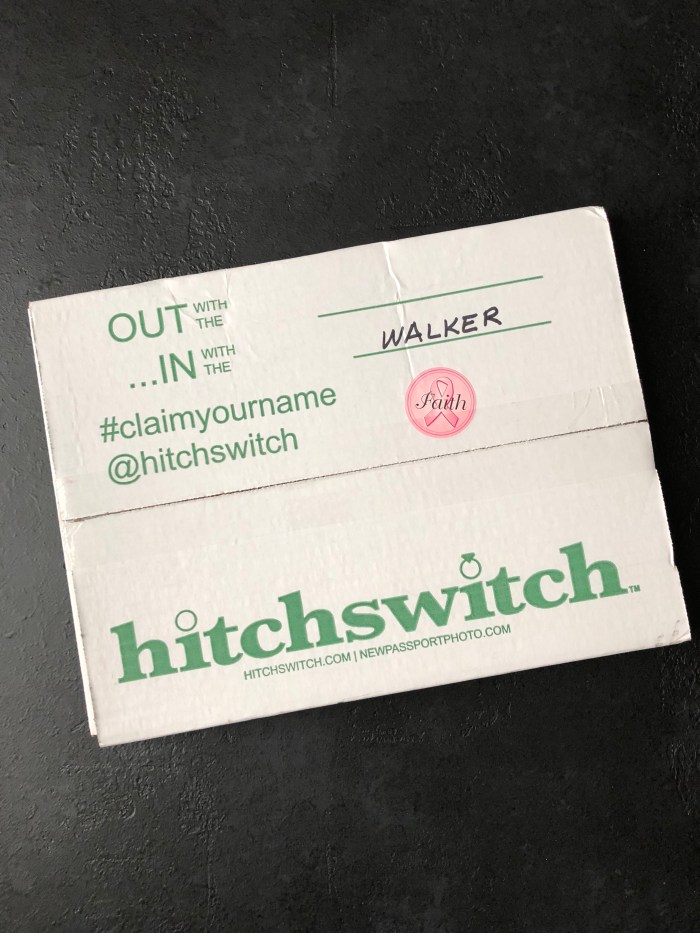 photo of the HitchSwitch box that was sent to me with all of the materials needed to change my name