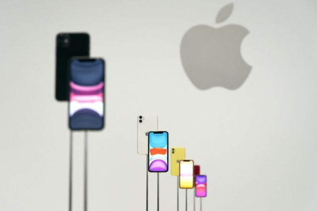 The new Apple iPhone 11 was on display during an event to announce new products Tuesday, Sept. 10, 2019, in Cupertino, Calif. (AP Photo/Tony Avelar)