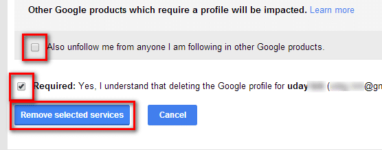 profile deletion confirmation check marks
