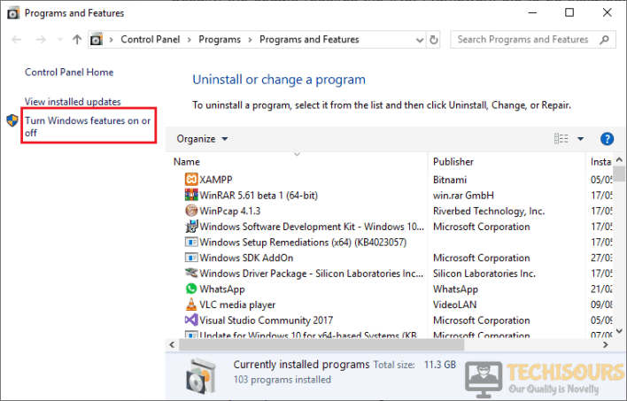 Click on Turn Windows feature on or off