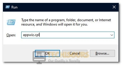 "Typing in ""Appwiz.cpl"" and pressing ""Enter"""