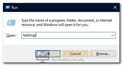 """Typing in """"taskmgr"""""""