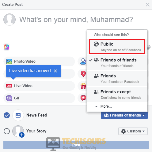 "Set the News Feed to public to resolve ""facebook attachment unavailable"" error"