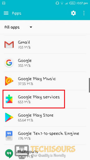 Navigate to Google Play Services