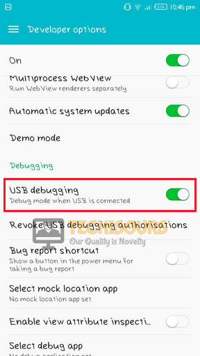 Enable USB debugging to terminate play store error 910
