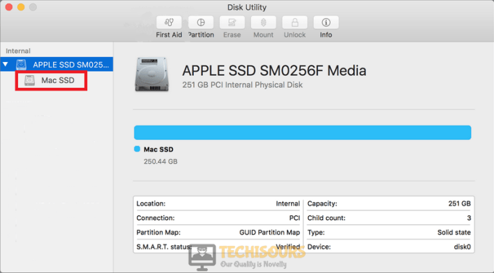 Find the Mac SSD option and click on it