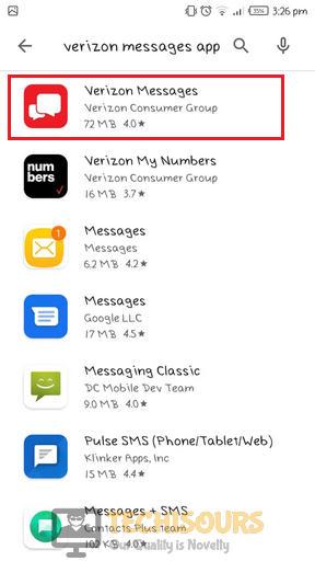 Look for Verizon message application