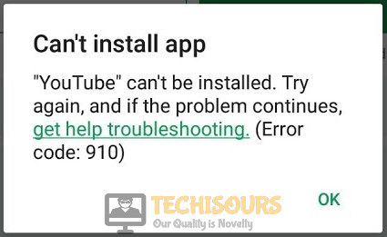 Encountering play store error 910 on Android device