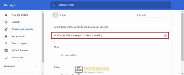 Enable Block sites from running flash for fixing Twitch Black Screen