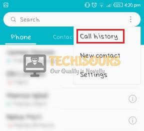 Choose call history