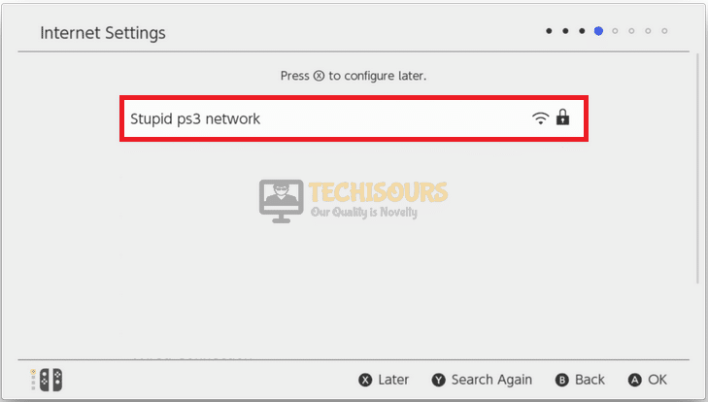 Choose home network to get rid of switch won't connect to wifi error