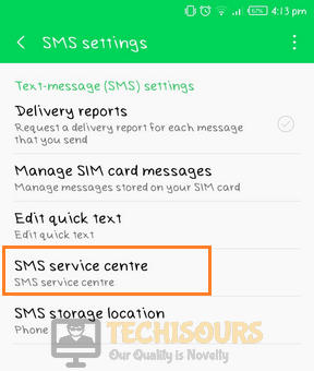 Choose sms service centre to get rid of free msg: unable to send message - message blocking is active problem