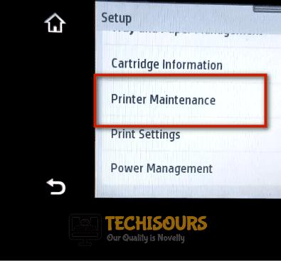 Click on printer maintenance to get rid of hp printhead error