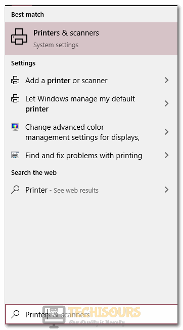Typing Printers and Scanners in the search bar