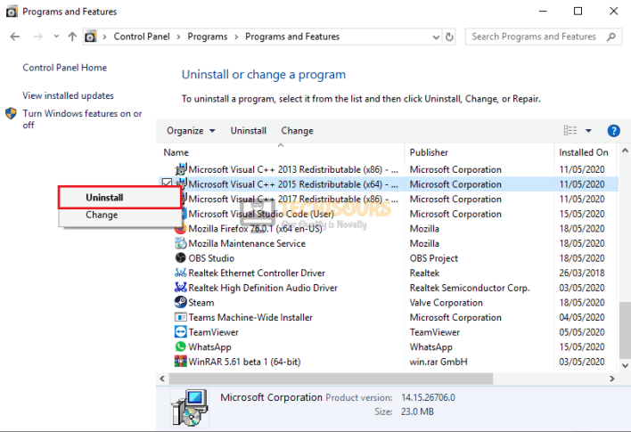 Uninstall Visual C++
