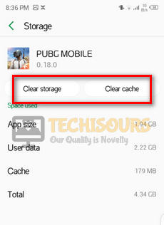 Clear cache and data to fix pubg crashing issue