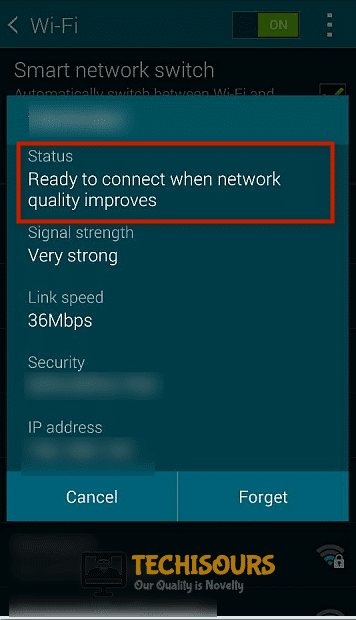 Ready to connect when network quality improves error message