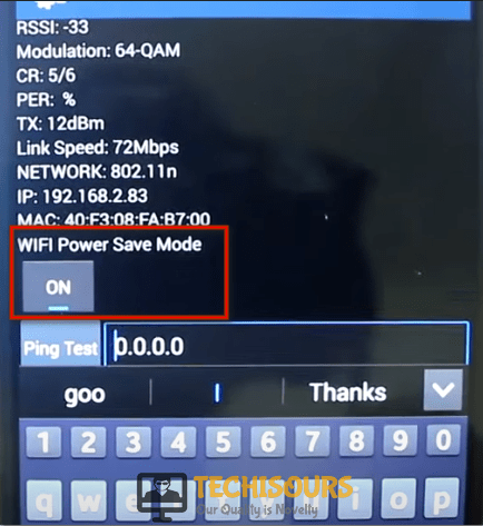 Turn off the WiFi power save mode