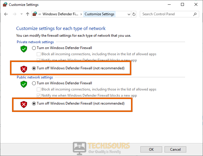 Turn off Windows defender firewall to fix Error 0xC1900223