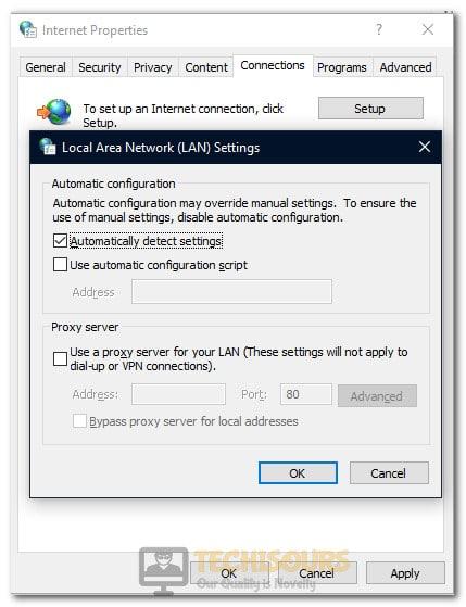 Changing Proxy Settings to fix error code m7353-5101