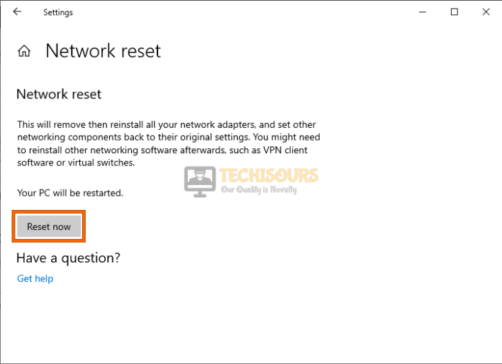 Reset connection to fix a network cable is not properly plugged in or maybe broken error