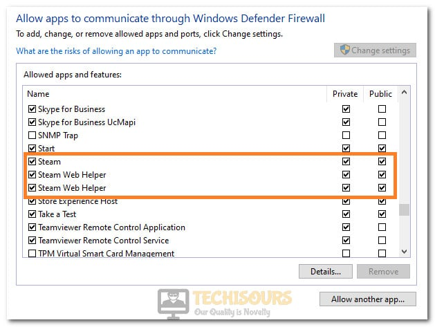 Allowing Steam through Firewall to fix the Steam Error Code 118