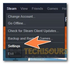 Opening Steam Settings