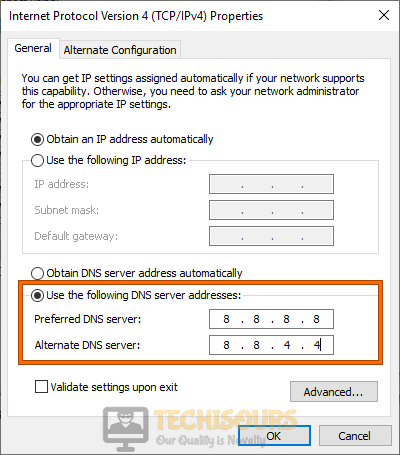 Use the following DNS server addresses to fix Error 0xC1900223