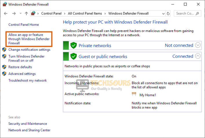 Allow app or feature through Windows Defender Firewall