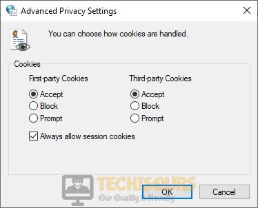 Accept cookies to fix FFXIV Error 2002