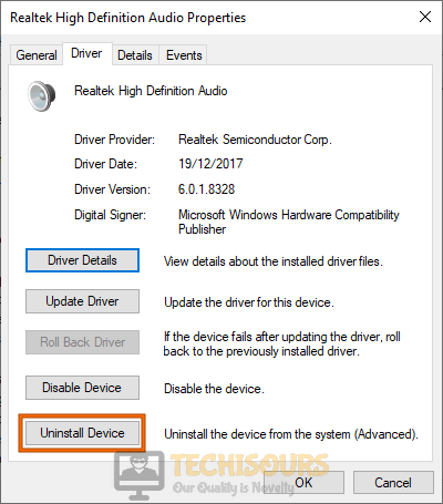 Uninstall driver to fix volume mixer won't open error
